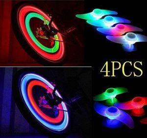 agooding 4pièces multicolore voiture vélo Roue Valve du pneu bonnet rayons Néon LED Lampe/Lampe de sécurité pour rayons de roue de rayons lumineux rayons de vélo/LED/LED lumière, Type B de la marque image 0 produit