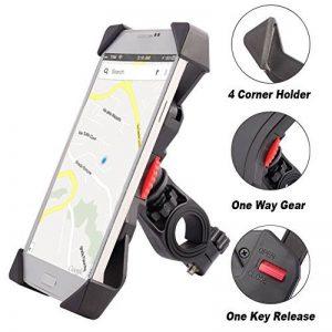 Anti-vibrations Support de Vélo Moto Téléphone Fall Prevention Guidon de Vélo Moto Berceau Collier Avec Rotation 360 Pour 3,5 à 6,3 pouces GPS pour Smartphones Autres Appareils (Universel) de la marque image 0 produit