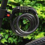 """Cadenas à Combinaison de Vélo avec Support et Crochet Alu en Forme D, FineGood 5 Chiffres Antivol Serrure de Câble Bobine pour Byciclette, avec 3"""" Crochet en Aluminium de la marque image 3 produit"""