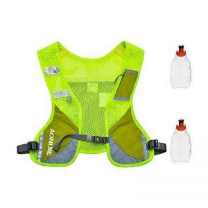 Gilet Réfléchissant Gilet d'hydratation en marche, sac à dos hydratant avec deux bouteilles d'eau de 8,5 oz / 250 ml et bandes réfléchissantes pour l'avertissement de sécurité, parfait pour les courses de jour et de nuit, Course de jogging, vélo et marath image 0 produit
