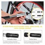 INTEY Mini Pompe à Vélo en Aluminium avec Manomètre(210 PSI), Kit de Réparation de Pneu Inclus Extra Léger & Durable avec Presta &Schrader Valve de la marque image 1 produit