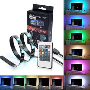iRegro Ruban à LED pour HDTV Rétroéclairage TV USB, Home Cinéma Kit d'éclairage d'accentuation avec télécommande, 2 RGB Multi Color Led Light Strip de la marque image 0 produit