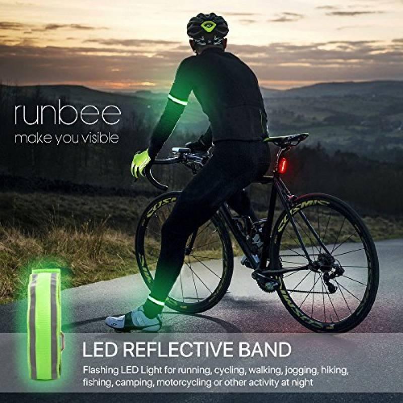 Sécurité Clignotant DEL Light-Up Arm Band Randonnée Running Vélo Cyclisme brassard NEUF