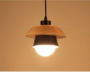 Lustre nordique Chambre à coucher Barre à café Comptoir Café Restaurant Lumière Personnalité créative Simple tête unique Lampe suspension en bois massif,B de la marque image 0 produit