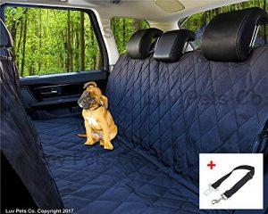 Luv Pets Co. Luxe Hamac de voyage pour Chien - Couverture pour sièges auto - Protection des sièges arrières - Matériaux robustes et résistants à l'eau - Rabats latéraux pour une plus grande protection des sièges - Livré avec une ceinture de sécurité en ca image 0 produit