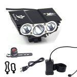 Nestling® 3 x Cree LED de vélo rechargeable 6600LM Phare Phare vélos Bike Light Torch avec 8.4V, 7200mAh 4 x 18650 batterie + Feu arrière (Noir) de la marque image 4 produit