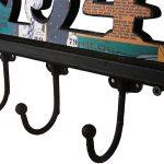NIKKY HOME Manteau de mur Crochets salle de bains serviettes Cabine Porche Crochets Retro Vintage Crochets Hat rack Hanger Nombre arabe 1-5 Métal décoratif et bois de la marque image 4 produit