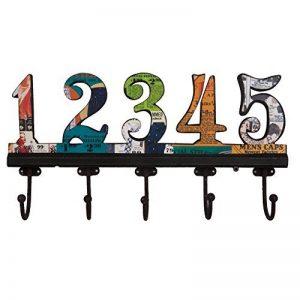 NIKKY HOME Manteau de mur Crochets salle de bains serviettes Cabine Porche Crochets Retro Vintage Crochets Hat rack Hanger Nombre arabe 1-5 Métal décoratif et bois de la marque image 0 produit