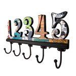 NIKKY HOME Manteau de mur Crochets salle de bains serviettes Cabine Porche Crochets Retro Vintage Crochets Hat rack Hanger Nombre arabe 1-5 Métal décoratif et bois de la marque image 2 produit