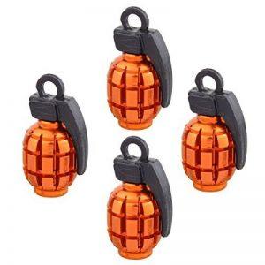 Ocamo 4pcs universel Bouchon de valve de pneu de roue Pneu Bouchons de valve en aluminium Grenade Bomb Forme Pneu de vélo Valve à air Housse pour auto Camion Moto, orange de la marque image 0 produit
