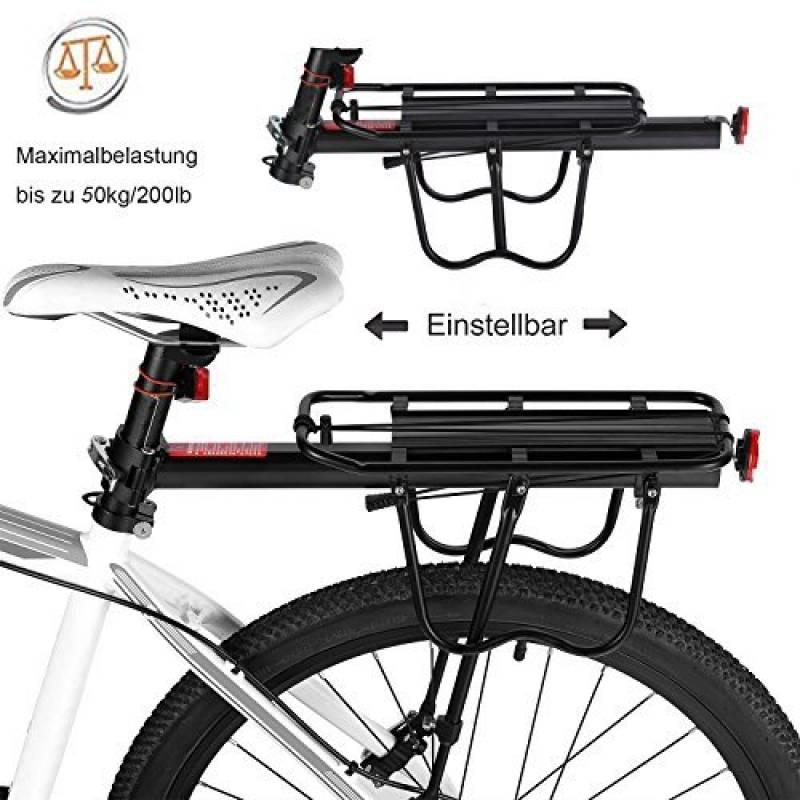 Vélo Porte Bagage, Universel Transporteur Porte bagages arrière de vélo  bicyclette accessoires Équipement Vélo Racks avec Réflecteur pour de  Longues de ... a80a4ee0ec2