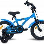 """PROMETHEUS Vélo enfant pour fils 14 pouces en bleu & noir avec petites roues   Frein à tirage et frein à rétropédalage   à partir de 4 ans   14"""" BMX Edition 2017 de la marque image 2 produit"""