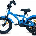 """PROMETHEUS Vélo enfant pour fils 14 pouces en bleu & noir avec petites roues   Frein à tirage et frein à rétropédalage   à partir de 4 ans   14"""" BMX Edition 2017 de la marque image 3 produit"""