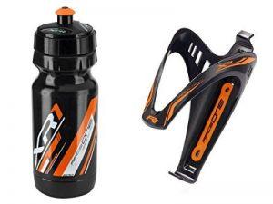 RaceOne.it - KIT Fluo Race - 2 PCS - Bidon avec Porte-bidon de Vélo. Bouteille d'eau avec support pour Cyclisme VTT/ Vélo de Route / MTB / Gravel Bike. Bottle XR1 + Bottle Cage X3 /600 CC. Coleur: Orange Fluo - 100% MADE IN ITALY de la marque image 0 produit