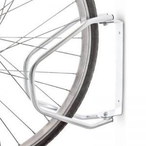 Relaxdays Râtelier vélo VTT H x l x P: 32,5 x 9 x 28,5 cm système range-vélo Parking support pour 1 vélo Métal fixation au sol ou murale porte-vélo, argent de la marque image 0 produit