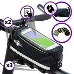 Sacoche de vélo BTR haut de gamme avec emplacement pour smartphone – Sacoche de cadre de vélo étanche qui protège à 100% tous vos effets personnels de la pluie – S'adapte à TOUS les vélos ** Avec Rustines BTR pour vélo/bicyclette, Rustines autocollantes ( image 2 produit