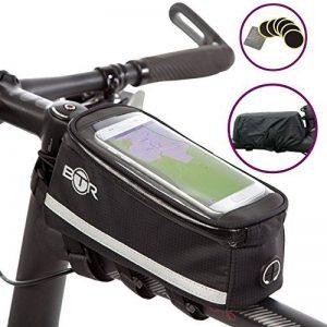 Sacoche de vélo BTR haut de gamme avec emplacement pour smartphone – Sacoche de cadre de vélo étanche qui protège à 100% tous vos effets personnels de la pluie – S'adapte à TOUS les vélos ** Avec Rustines BTR pour vélo/bicyclette, Rustines autocollantes ( image 0 produit
