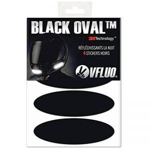 VFLUO BLACK OVAL™, Kit 4 stickers rétro réfléchissants pour casque moto, 3M Technology™, Noir de la marque image 0 produit