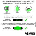 VFLUO BLACK STANDARD™, Kit 4 bandes stickers rétro réfléchissants pour casque moto, 3M Technology™, Noir de la marque image 4 produit