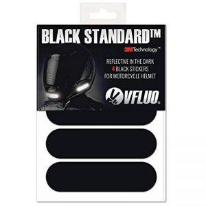 VFLUO BLACK STANDARD™, Kit 4 bandes stickers rétro réfléchissants pour casque moto, 3M Technology™, Noir de la marque image 0 produit