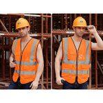 VORCOOL Gilet de sécurité réfléchissant avec poches et fermeture éclair pour homme Femme Outdoor Taille L (orange fluorescent) de la marque image 2 produit